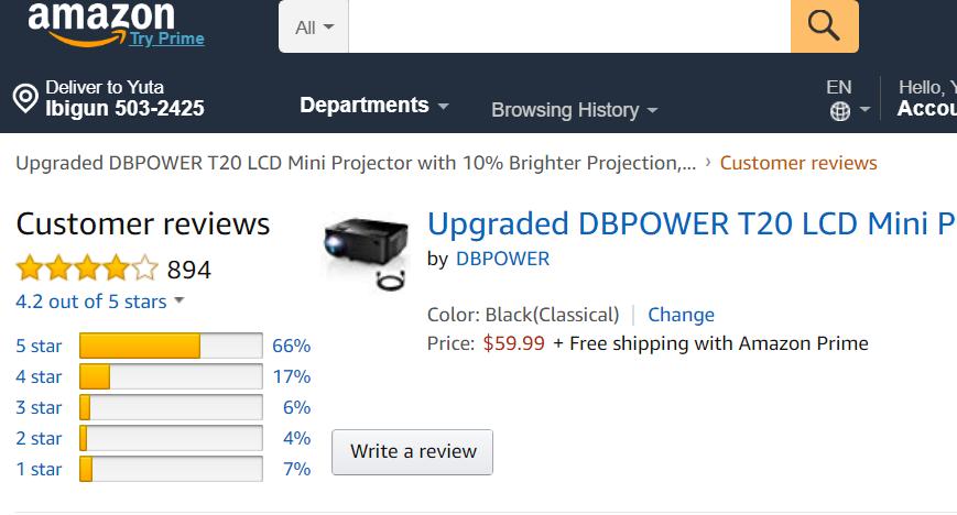 DBPOWERのプロジェクターの評価・評判・レビュー
