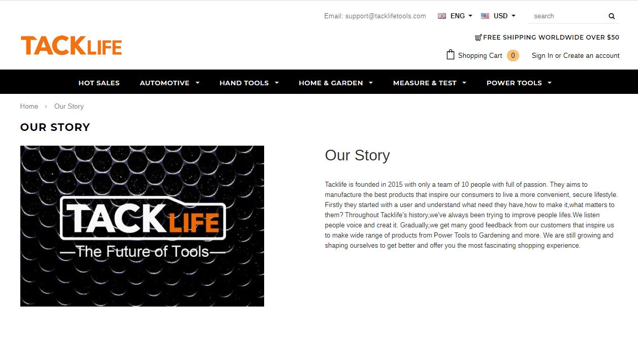 TACKLIFEの会社ホームページ